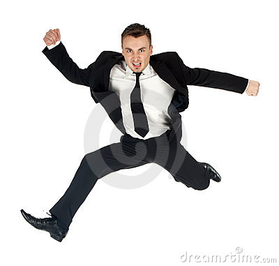 Jumping angry businessman