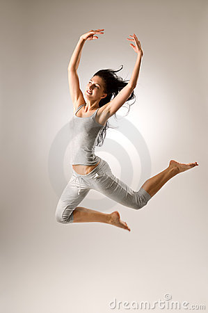 Jumping Attractive Girl