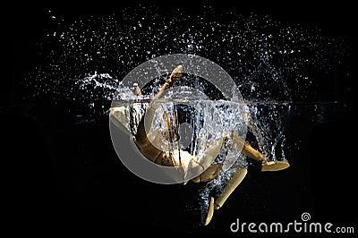 Jumping backwards into water