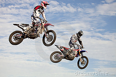 Jumping Bikes at Supercross Editorial Image