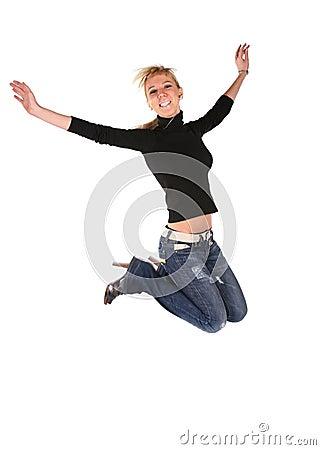 Free Jumping Blond Girl Stock Image - 3911411