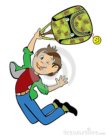 Jumping boy holding school bag
