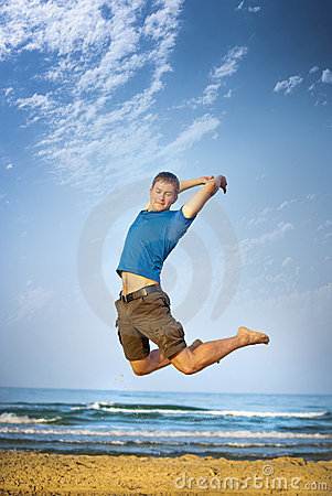 Jumping boy sea