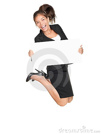 Jumping business happy woman holding white sign