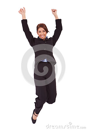 Jumping business woman