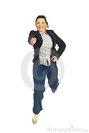 Jumping business woman with attitude