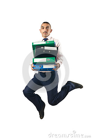 Jumping businessman in business concept