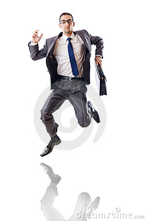 Jumping businessman isolated