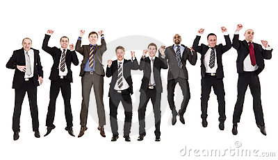 Jumping businessmen in a row