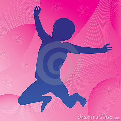 Jumping Child & Abstract Background
