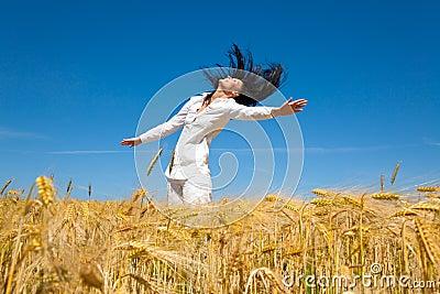 Jumping corn field