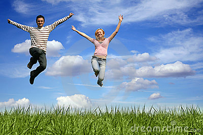 jumping couple outdoor