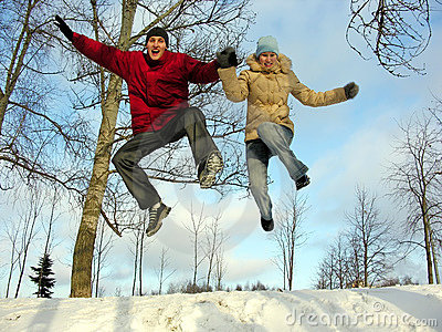 Jumping couple. winter.