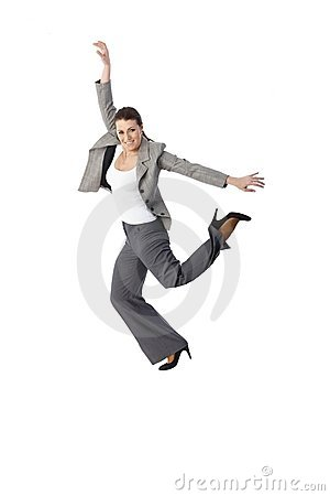 Jumping elegant woman smiling