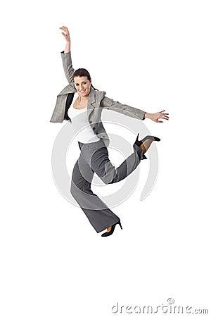 Jumping elegant woman smiling