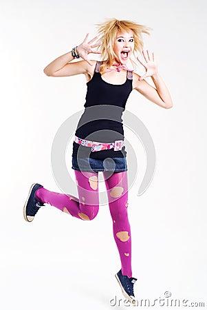 Jumping emo girl