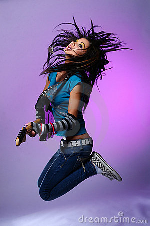 Free Jumping Emo Girl With Guitar Stock Photo - 7801620