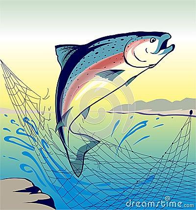Jumping Fish Salmon - Illustration