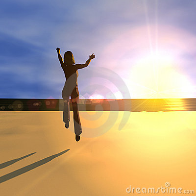 Free Jumping For Joy At Sunrise Royalty Free Stock Image - 2559456