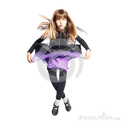 Jumping girl in bat costume