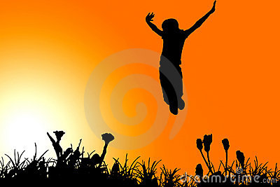 Jumping girl clipart