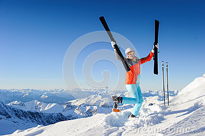 Jumping girl in fresh snow powder