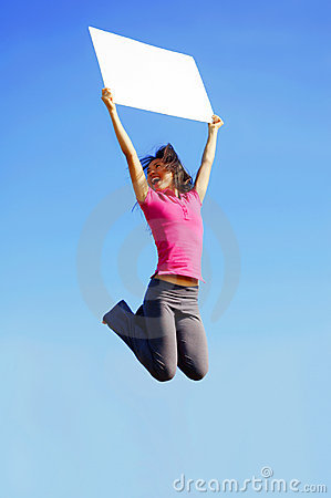 Jumping Girl With Sign
