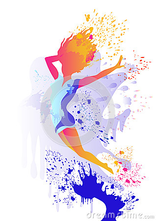 Jumping girl silhouette with colored splats