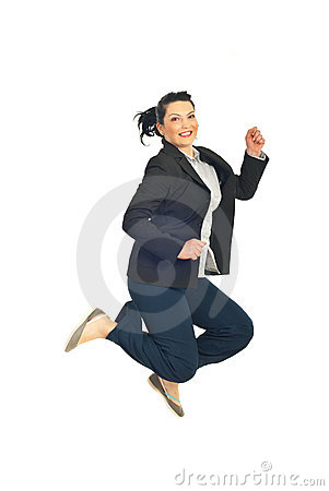 Jumping happy business woman