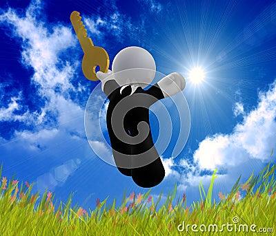 Jumping happy businessman icon