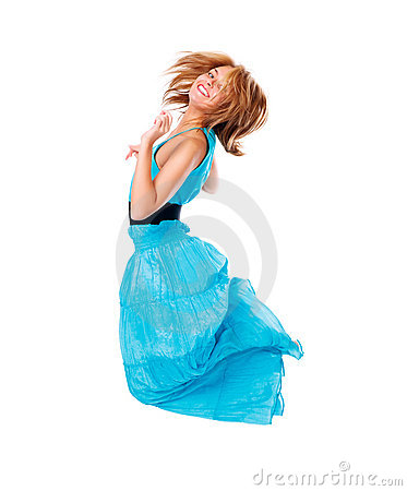 Jumping happy woman isolated