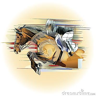 Jumping horse and jockey