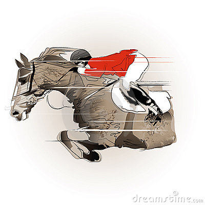 Jumping horse and jockey