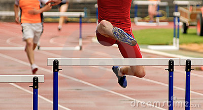 Jumping at hurdle race