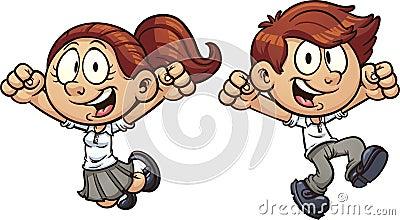 Jumping kids Vector Illustration