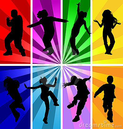 Free Jumping Kids Jump Silhouettes Silhouette Child Kid Vector Sport Dancing Dance Teenagers Children Teens Background Disco Teen Party Royalty Free Stock Photo - 11938645