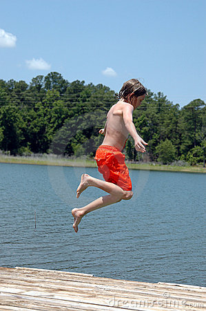 Jumping in lake