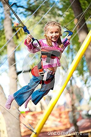 Jumping littele girl