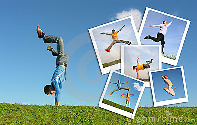 Jumping man in grass and photographs of people