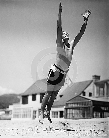 Free Jumping Man In Midair Stock Images - 52011334