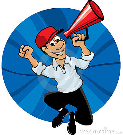 Jumping man with megaphone