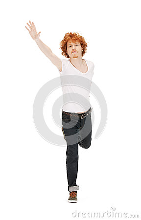 Jumping man in white shirt Stock Photo