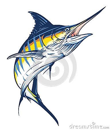 Jumping Marlin Vector Illustration
