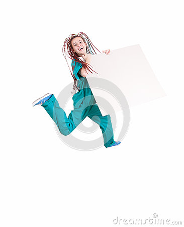 Jumping medical woman with blank board