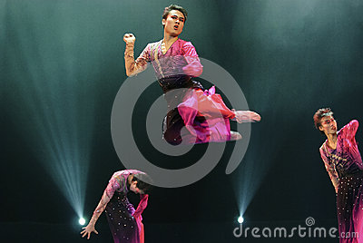 Jumping modern dancers Editorial Stock Photo