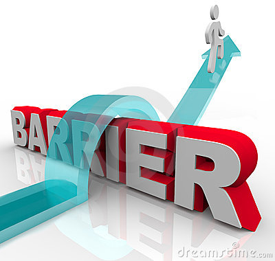 Free Jumping Over Barriers - Man Rides Arrow Over Word Royalty Free Stock Image - 19448116