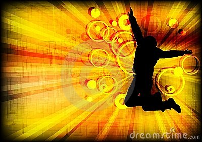Jumping person on grunge background