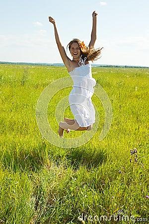 Jumping  pretty brunette  girl