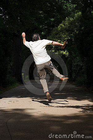 Free Jumping Retired Man Royalty Free Stock Photography - 11227117