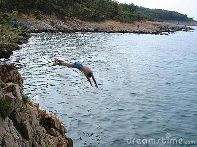 Jumping in sea